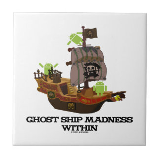 Ghost Ship Madness Within (Developer Bug Droid) Small Square Tile