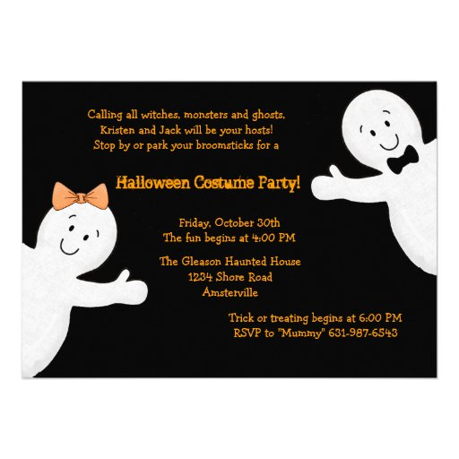 Ghost Siblings Halloween Party Invitation