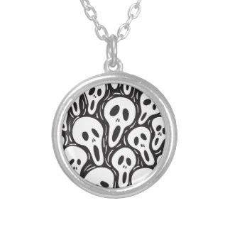 Ghost Skull Round Pendant Necklace