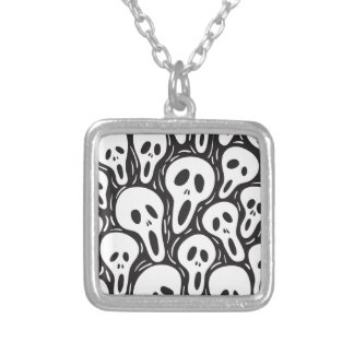 Ghost Skull Square Pendant Necklace