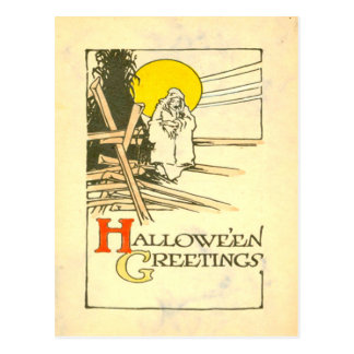 Ghost Spirit Supernatural Full Moon Cornstalk Postcard