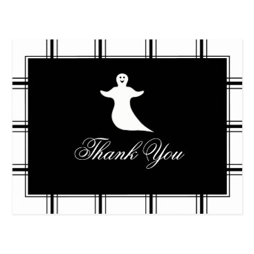 Ghost Thank You Halloween Black Postcard