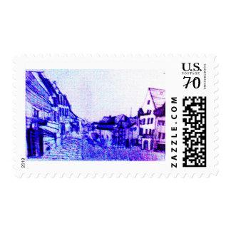 ghost town motive purple postage