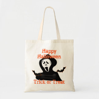 ghost trick or treat halloween tote bags