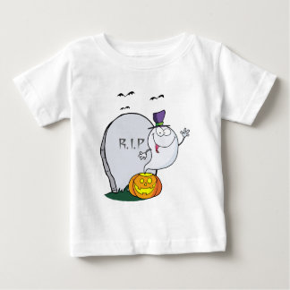 Ghost Waving  From Pumpkin Near Tombstone And Bats Baby T-Shirt