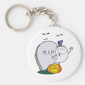 Ghost Waving  From Pumpkin Near Tombstone And Bats Keychain