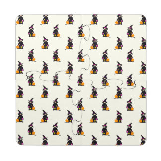 Ghost White Off-White Halloween Toddler Witch Puzzle Coaster