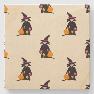 Ghost White Off-White Halloween Toddler Witch Stone Beverage Coaster