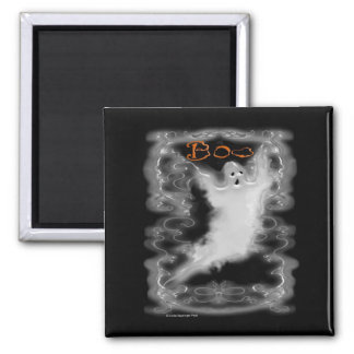 Ghost White Scroll Border 2 Inch Square Magnet