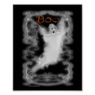 Ghost White Scroll Border Poster