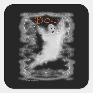 Ghost White Scroll Border Square Sticker