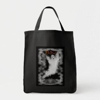 Ghost White Scroll Border Tote Bag