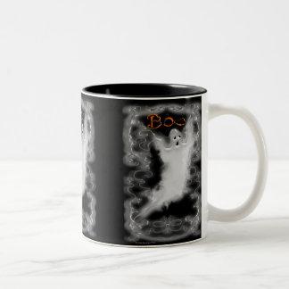 Ghost White Scroll Border Two-Tone Coffee Mug