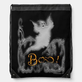 Ghost White Scrolls Drawstring Backpack