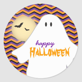 Ghost with Chevron background Halloween Classic Round Sticker