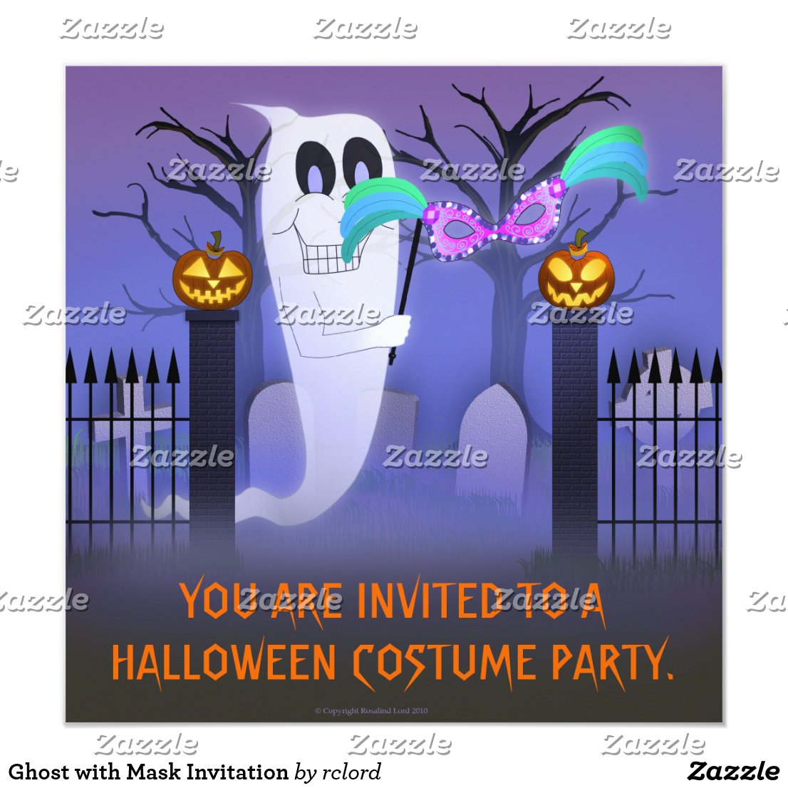 Ghost with Mask Invitation