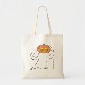 Ghost with pumkin head jumbo tote bag