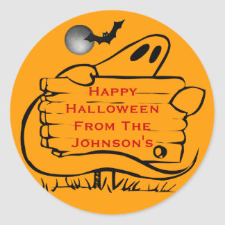 Ghost with Sign Bat and Full Moon Personalized Classic Round Sticker