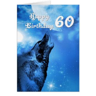 Ghost wolf howling 60th birthday card