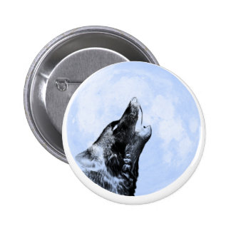Ghost wolf howling at the moon 2 inch round button