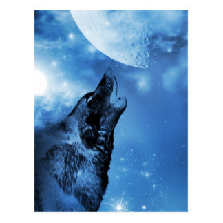 Ghost wolf howling at the moon postcard