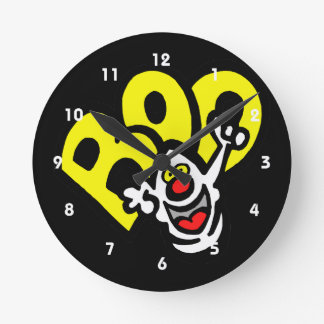 Ghost yellow BOO graphic Round Clock