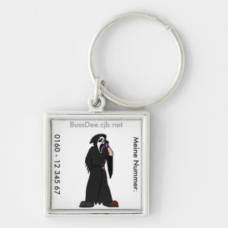 Ghostface Contact Silver-Colored Square Keychain