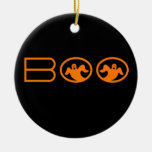 Ghostly Boo Halloween Ornament, Black and Orange