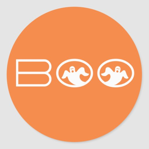 Ghostly Boo Halloween Stickers, Orange and White