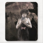Ghostly Cat Lady art mousepad