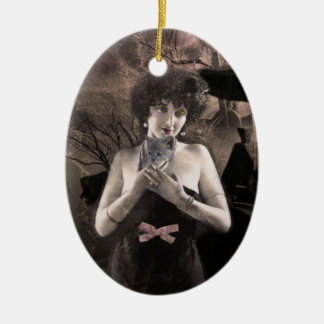 Ghostly Cat Lady art ornament
