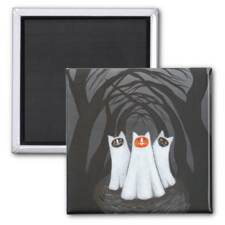 Ghostly Cats 2 Inch Square Magnet
