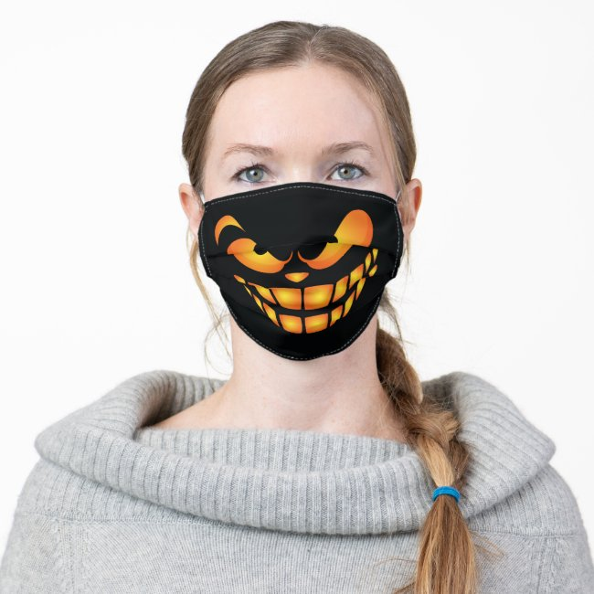 Ghostly Evil Wicked Spooky Scary Smile Cloth Face Mask