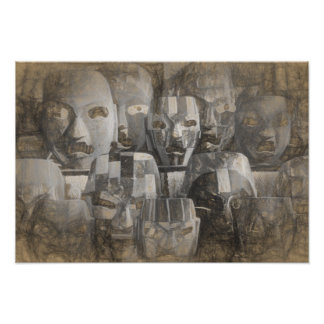 Ghostly faces poster