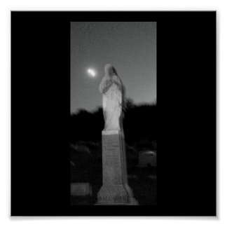 Ghostly Figure Grave Stone Poster