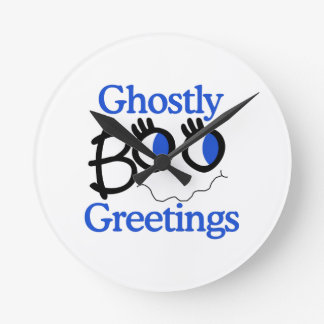 Ghostly Greetings Round Wallclock