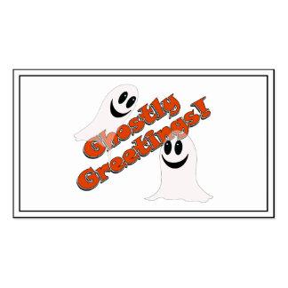 Ghostly Greetings Cute Halloween Cartoon Ghost Business Cards