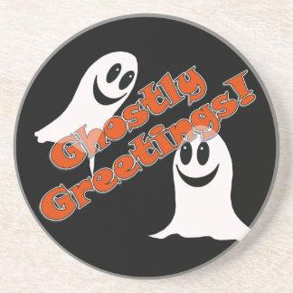 Ghostly Greetings~! Cute Halloween Cartoon Ghost Drink Coasters