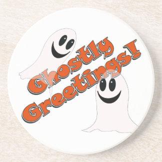 Ghostly Greetings~! Cute Halloween Cartoon Ghost Drink Coaster
