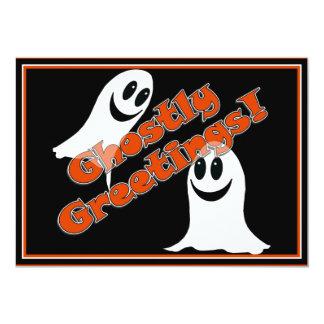 "Ghostly Greetings~! Cute Halloween Cartoon Ghost 5"" X 7"" Invitation Card"