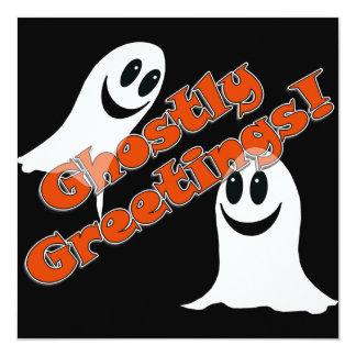 "Ghostly Greetings~! Cute Halloween Cartoon Ghost 5.25"" Square Invitation Card"