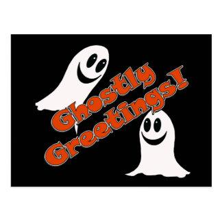 Ghostly Greetings~! Cute Halloween Cartoon Ghost Postcard
