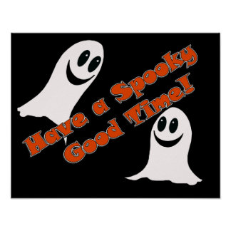 Ghostly Greetings~! Cute Halloween Cartoon Ghost Poster