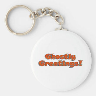 Ghostly Greetings Halloween Text Image Keychain