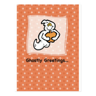 Ghostly Greetings on Halloween Postcard