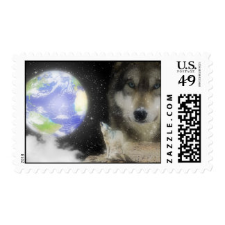 Ghostly Grey Wolves Postage