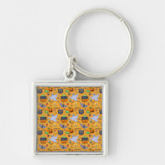 Ghostly Halloween Pattern Silver-Colored Square Keychain