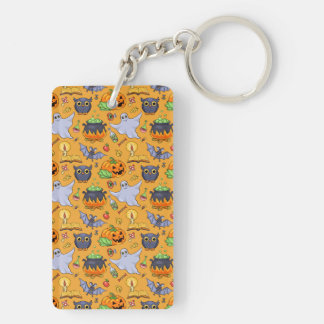 Ghostly Halloween Pattern Double-Sided Rectangular Acrylic Keychain