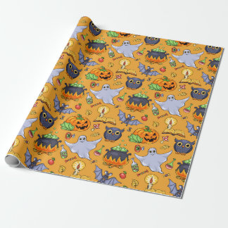 Ghostly Halloween Pattern Wrapping Paper