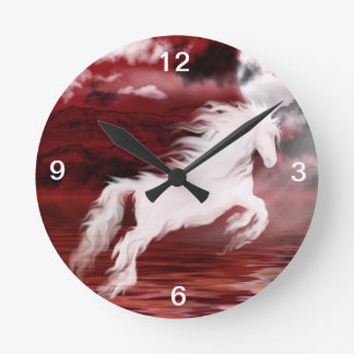 Ghostly horse round clock